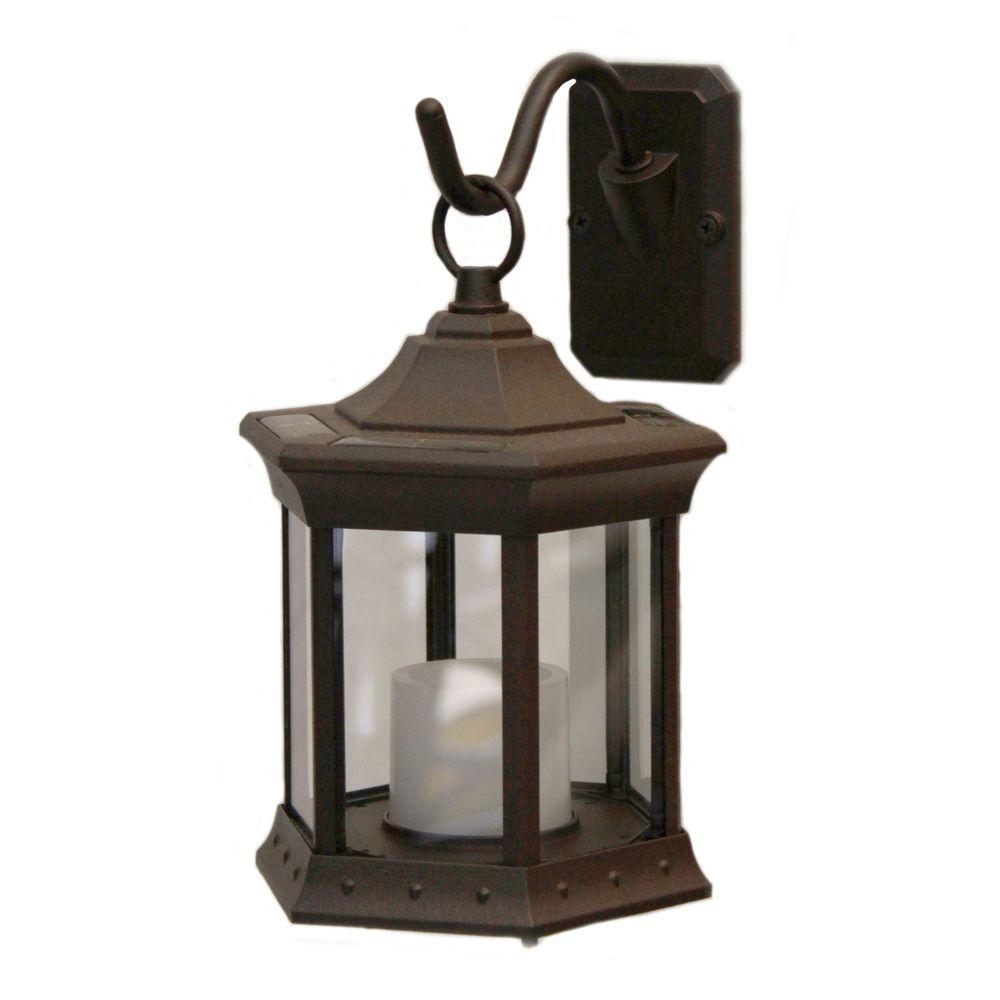 Solar Garden Light Lantern: Sconce Hook Clear Glass Solar Lantern-SL-STCG