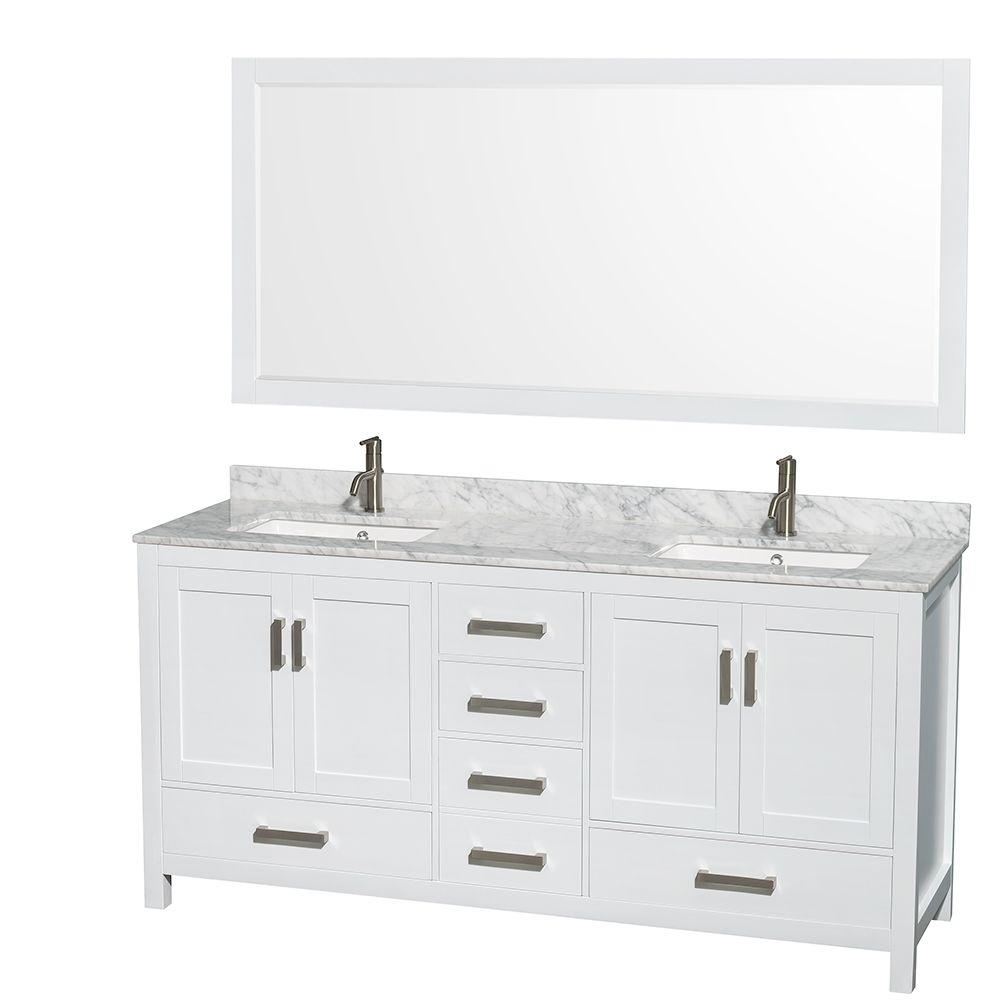 Wyndham Collection Sheffield 72 In. Double Vanity In White With Marble  Vanity Top In Carrara