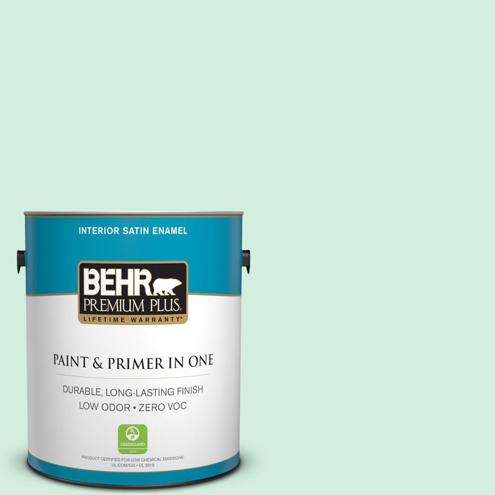 BEHR Premium Plus 1-gal. #480C-2 Pastel Jade Zero VOC Satin Enamel Interior Paint, Greens