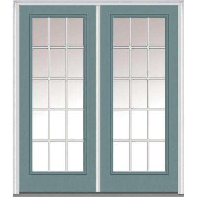 64 in. x 80 in. White Internal Grilles Left-Hand Inswing Full Lite Clear Painted Fiberglass Smooth Prehung Front Door