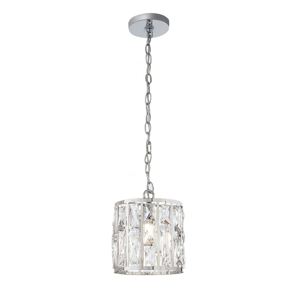 Home Decorators Collection Kristella 1 Light Crystal And Chrome Pendant 30685 Hbu The Home Depot