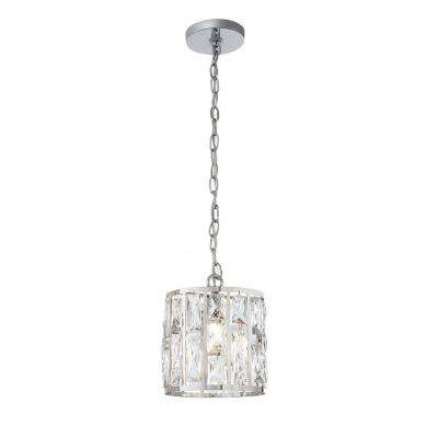 Kristella 1-Light Crystal and Chrome Pendant