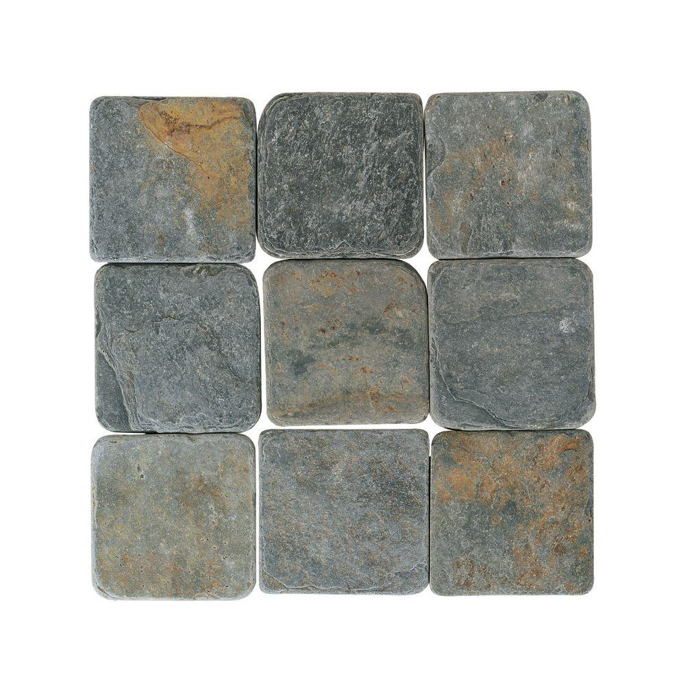 Daltile Travertine Indian Multicolor In X In Tumbled Stone - 4 inch slate tile