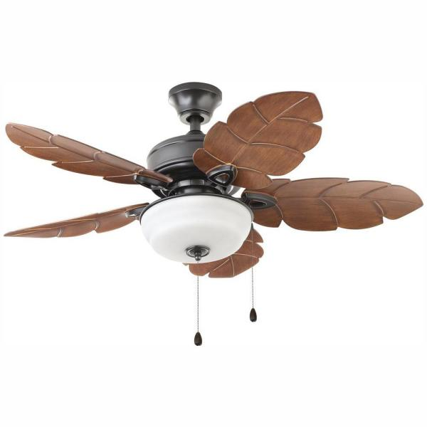 Palm Cove 44 in. LED Indoor/Outdoor Natural Iron Ceiling Fan with Light Kit