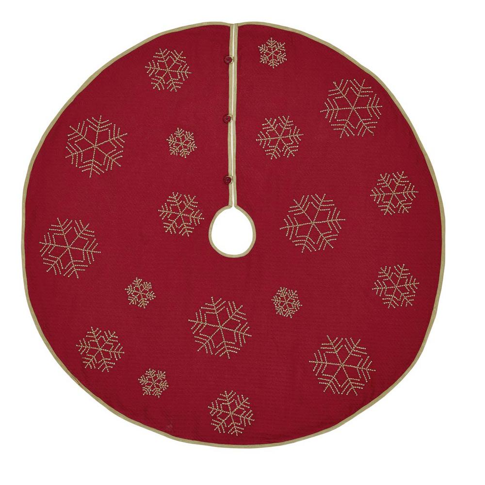 48 in. Revelry Brick Red Traditional Christmas Decor Tree Skirt