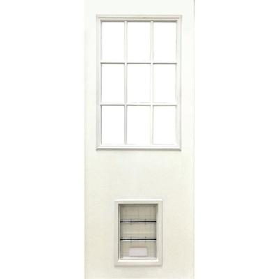 31-3/4 in. x 79 in. Clear 9-Lite White Primed Fiberglass Front Door Slab with Extra Large Pet Door