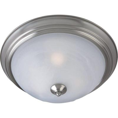 Outdoor Essentials 1-Light Satin Nickel Outdoor Flushmount