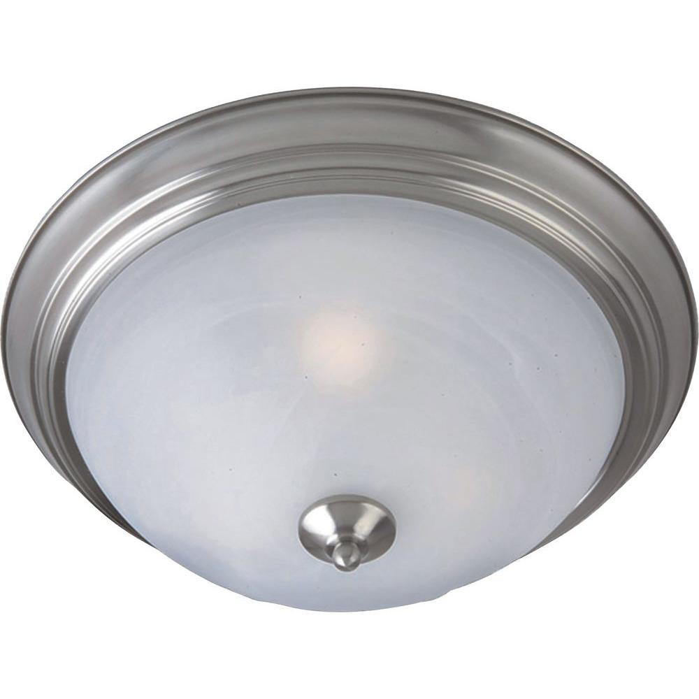 Outdoor Essentials 1-Light Satin Nickel Outdoor Flushmount