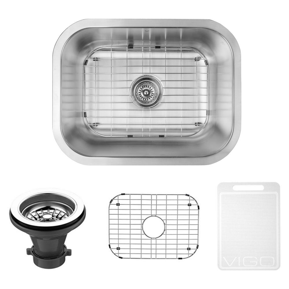 Undermount Stainless Steel 23 in. Single Bowl Kitchen Sink with Grid