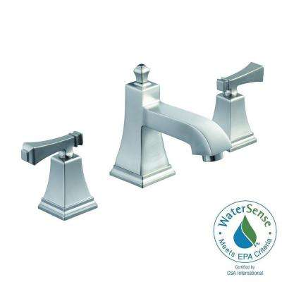 Exhibit 8 in. Widespread 2-Handle High-Arc Bathroom Faucet in Brushed Nickel