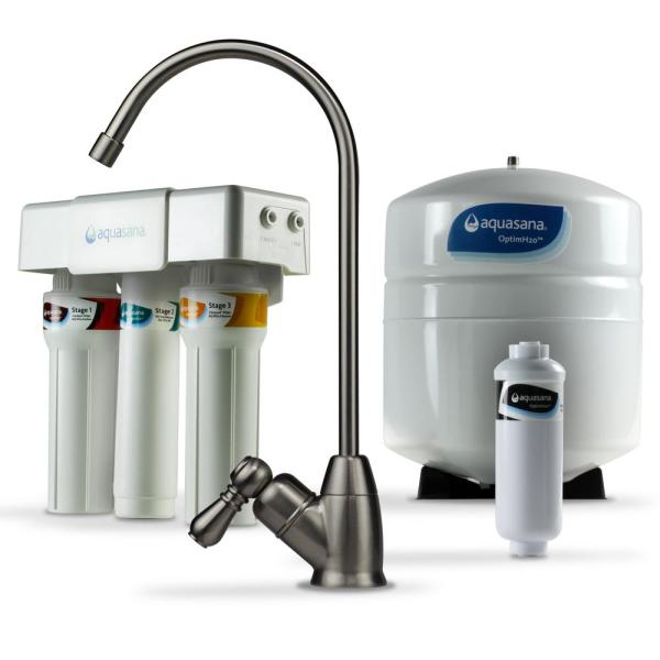 OptimH2O Reverse Osmosis Claryum Under-Counter Water Filtration System with Brushed Nickel Faucet