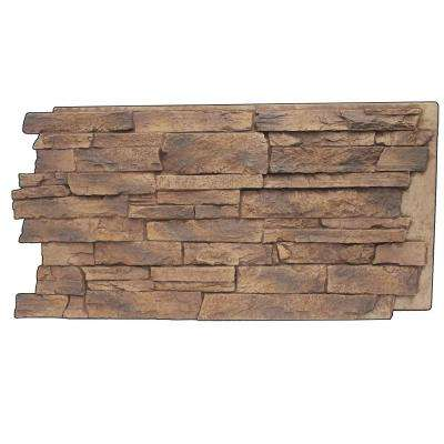 Faux Mountain Ledge Stone 24-3/4 in. x 48-3/4 in. x 1-1/4 in. Panel Adobe Brown
