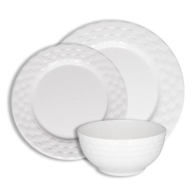 12-Piece Casual White Basket Weave Melamine Outdoor Dinnerware Set (Service for 4)