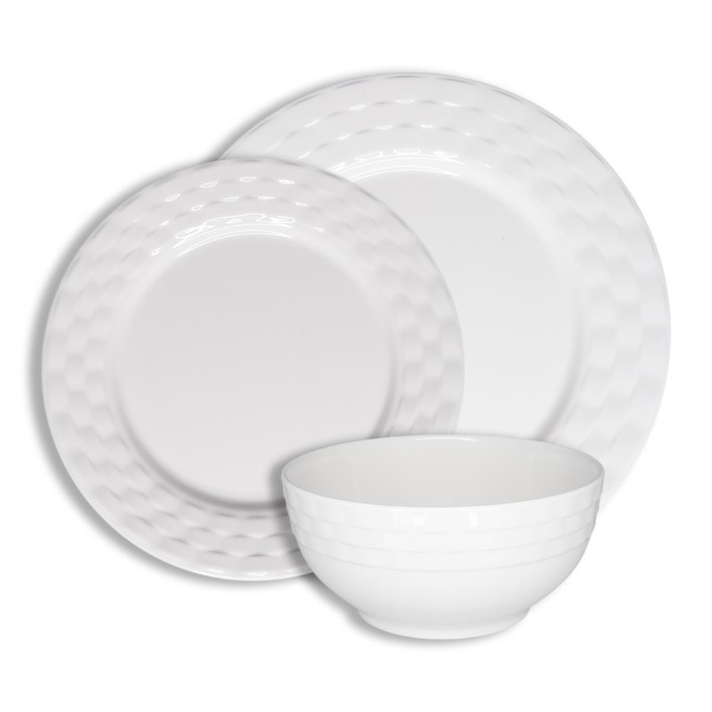 Basket Weave White 12-Piece Melamine Dinnerware Set