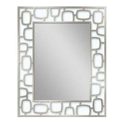 24 in. W x 30 in. H Metal Oblong Circle Etched Wall Mirror in Brush Nickel