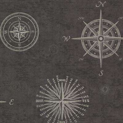 56.4 sq. ft. Navigate Charcoal Vintage Compass Wallpaper