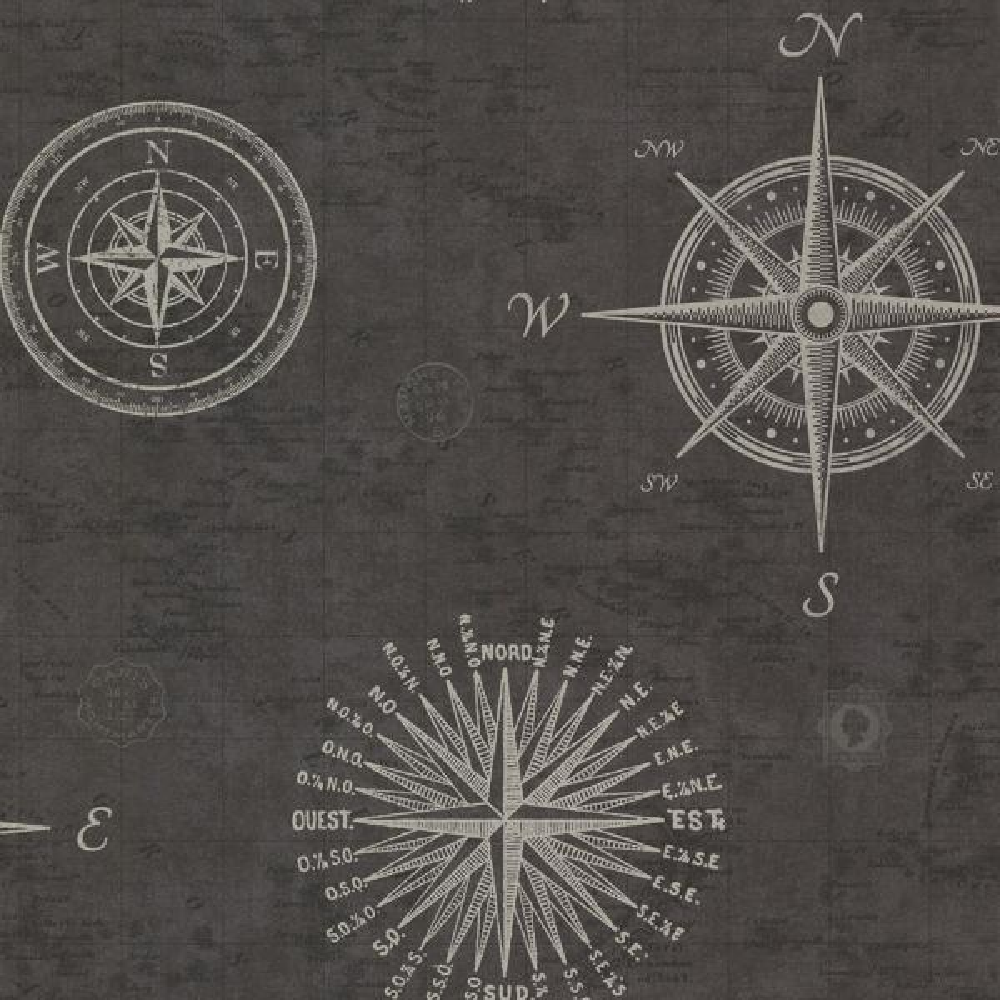 Beacon House Navigate Charcoal Vintage Compass Wallpaper Sample 2604-21215SAM