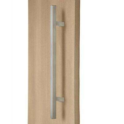24 in. Square Ladder 1 in. x 1 in. Back-to-Back Stainless Steel Brushed Satin Door Pull Handleset for Easy Installation