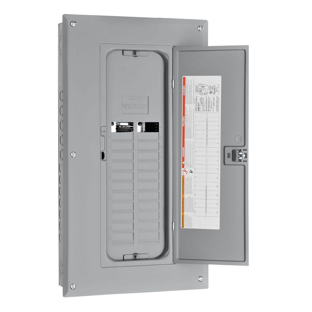 Homeline Subpanels Breaker Boxes The Home Depot Electrical Panel And Subpanel With Cover Removed From