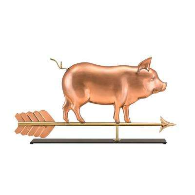Country Pig Pure Copper Weathervane Sculpture on Mantel Stand: Home Decor