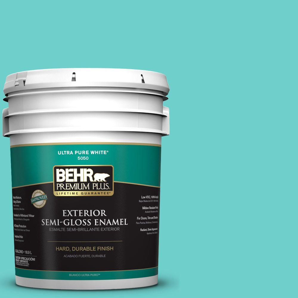 BEHR Premium Plus 5-gal. #P450-4 Hidden Sea Glass Semi-Gloss Enamel Exterior Paint