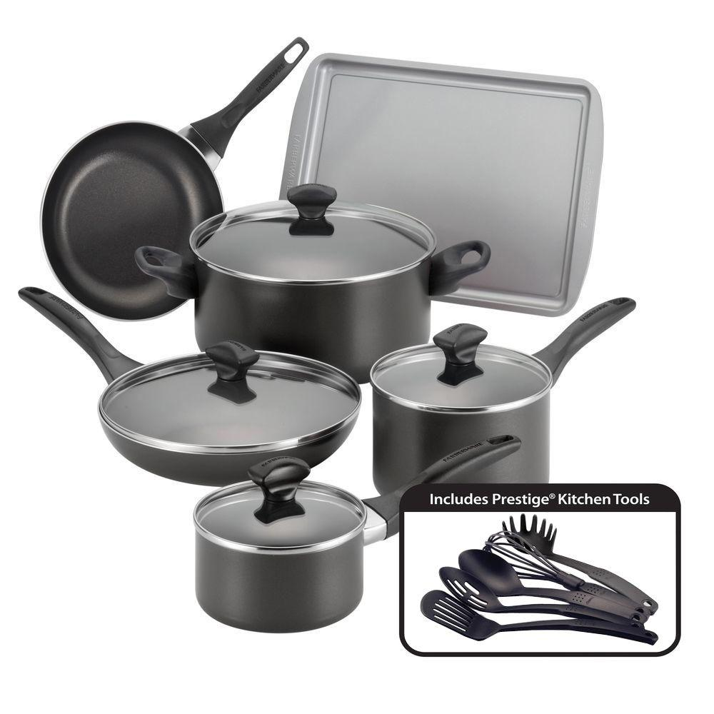 Farberware 15-Piece Black Cookware Set with Lids-21806 ...