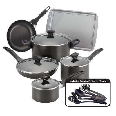 15-Piece Black Cookware Set with Lids
