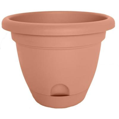 Lucca 11 in. Terra Cotta Plastic Self-Watering Planter with Saucer