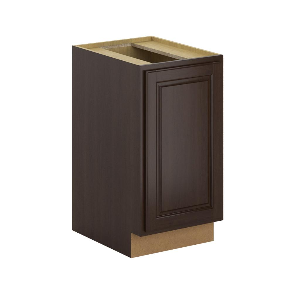 hampton bay madison assembled in pull out trash can base kitchen cabinet in java. Black Bedroom Furniture Sets. Home Design Ideas