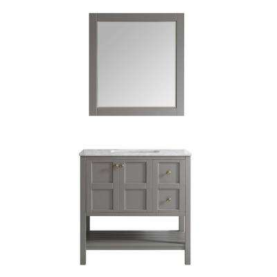 Florence 36 in. W x 22 in. D x 35 in. H Vanity in Grey with Marble Vanity Top in White with Basin and Mirror