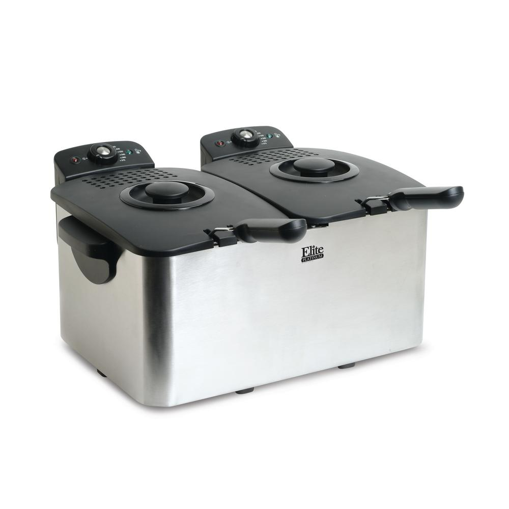 Platinum Non-Stick Enamel Deep Fryer, Stainless