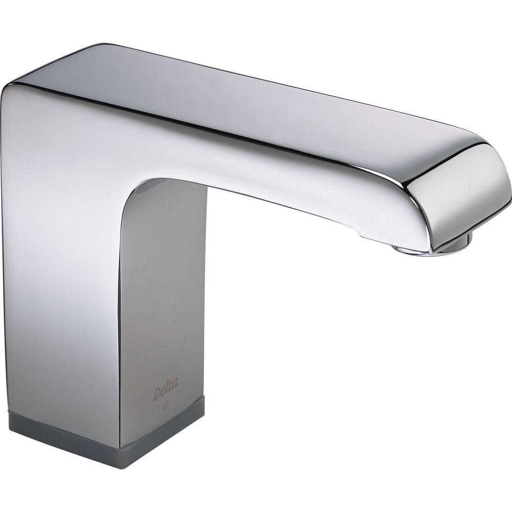 Delta Arzo Battery-Powered Single Hole Touchless Bathroom Faucet ...