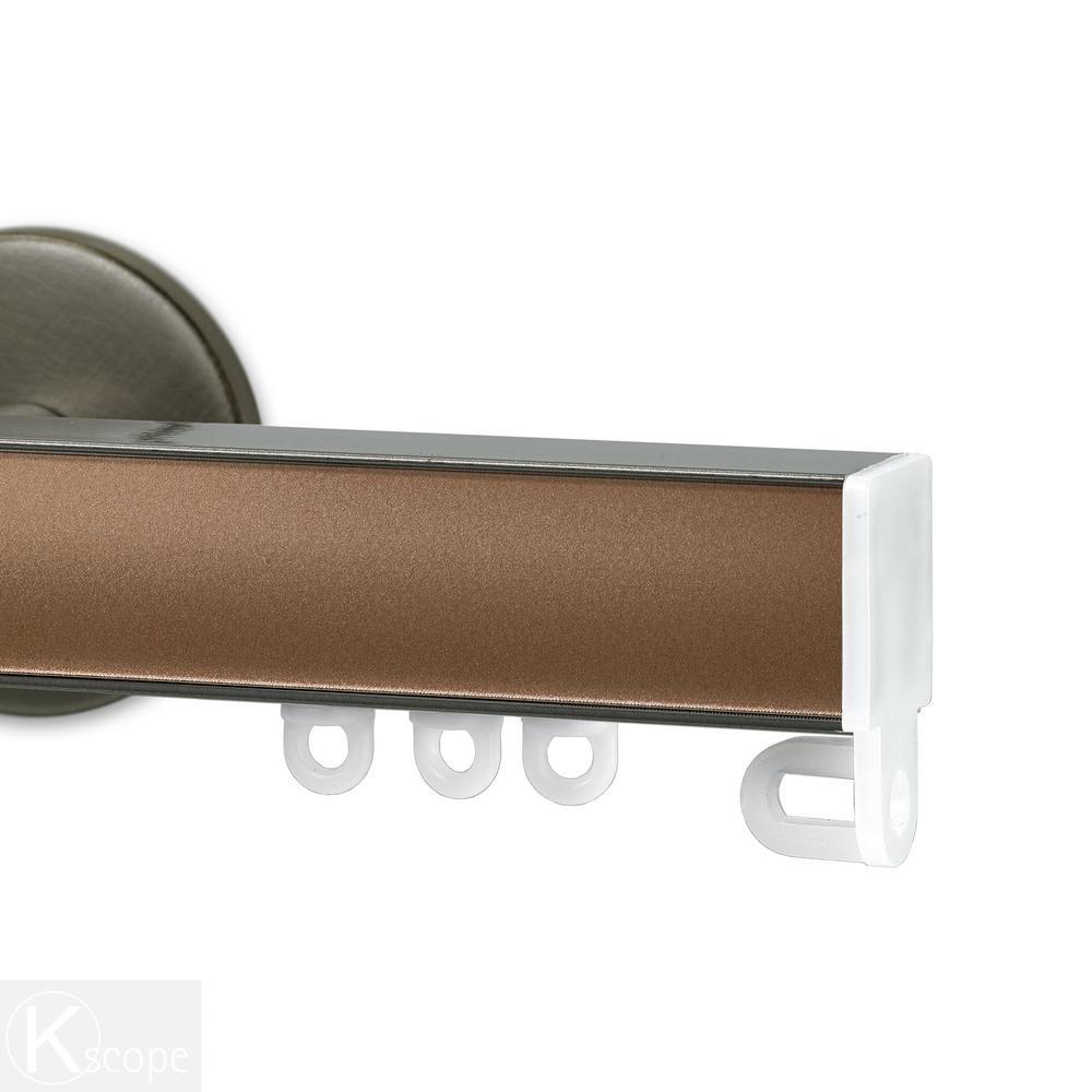 Nexgen 48 in. Non-Adjustable Single Traverse Window Curtain Rod Set in Antique Silver with Copper Applique
