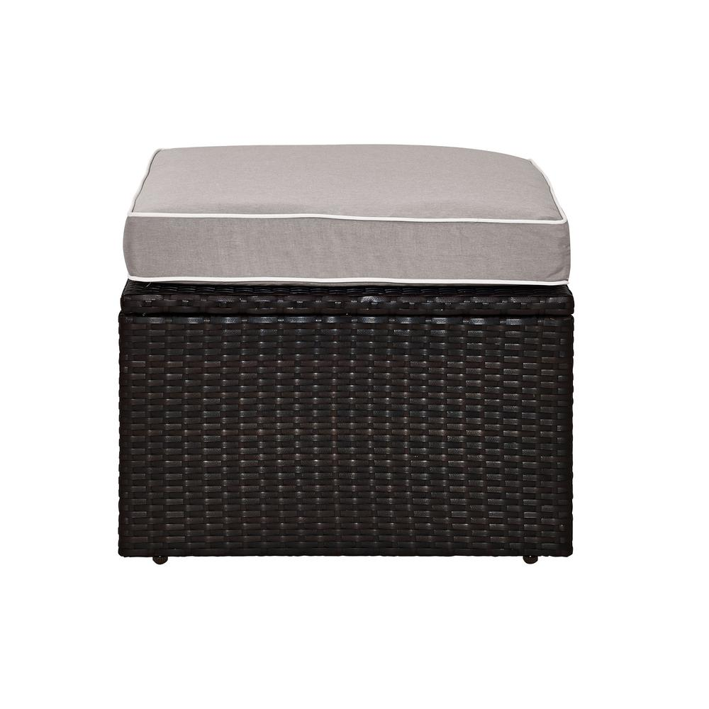 Palm Harbor Wicker Outdoor Patio Ottoman with Grey Cushions