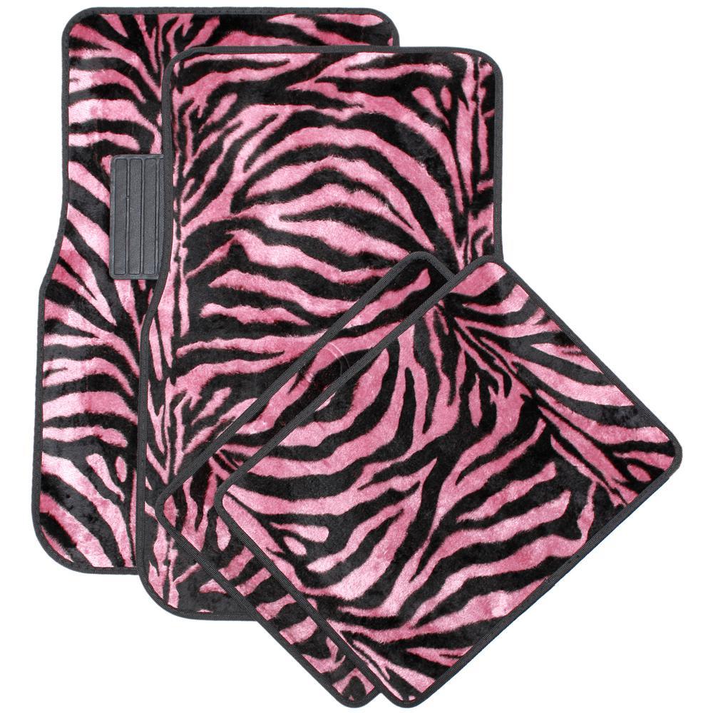 Zebra Pink and Black 4-Piece Heavy-Duty 26.5 in. x 17.25 in. Rubber Floor Mats