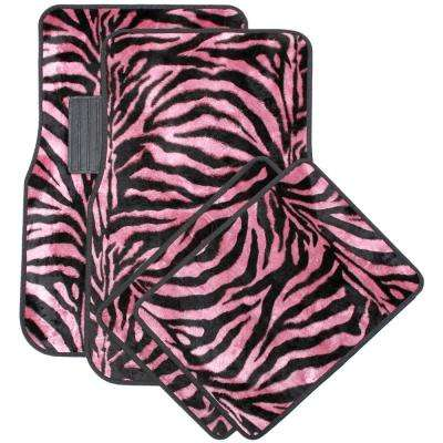Zebra Pink and Black 4-Piece Heavy-Duty 26.5 in. x 17.25 in. Rubber Floor Mats