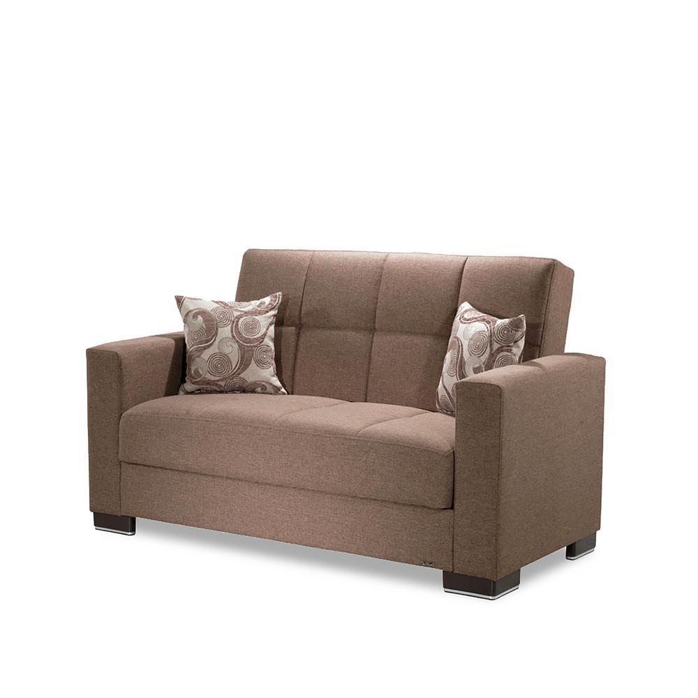 Armada Dark Beige Fabric Upholstery Love Seat with Storage