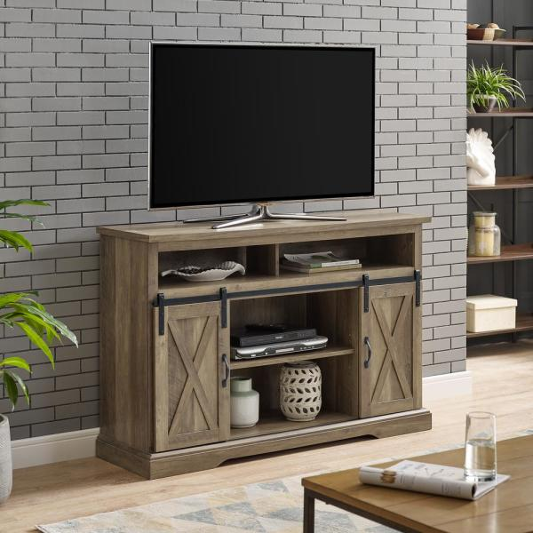 Rustic Oak Sliding Barn Door Highboy Tv Stand