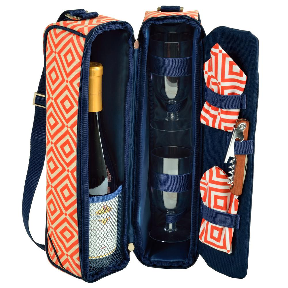Sunset Diamond Orange Wine Tote for 2 with Glasses