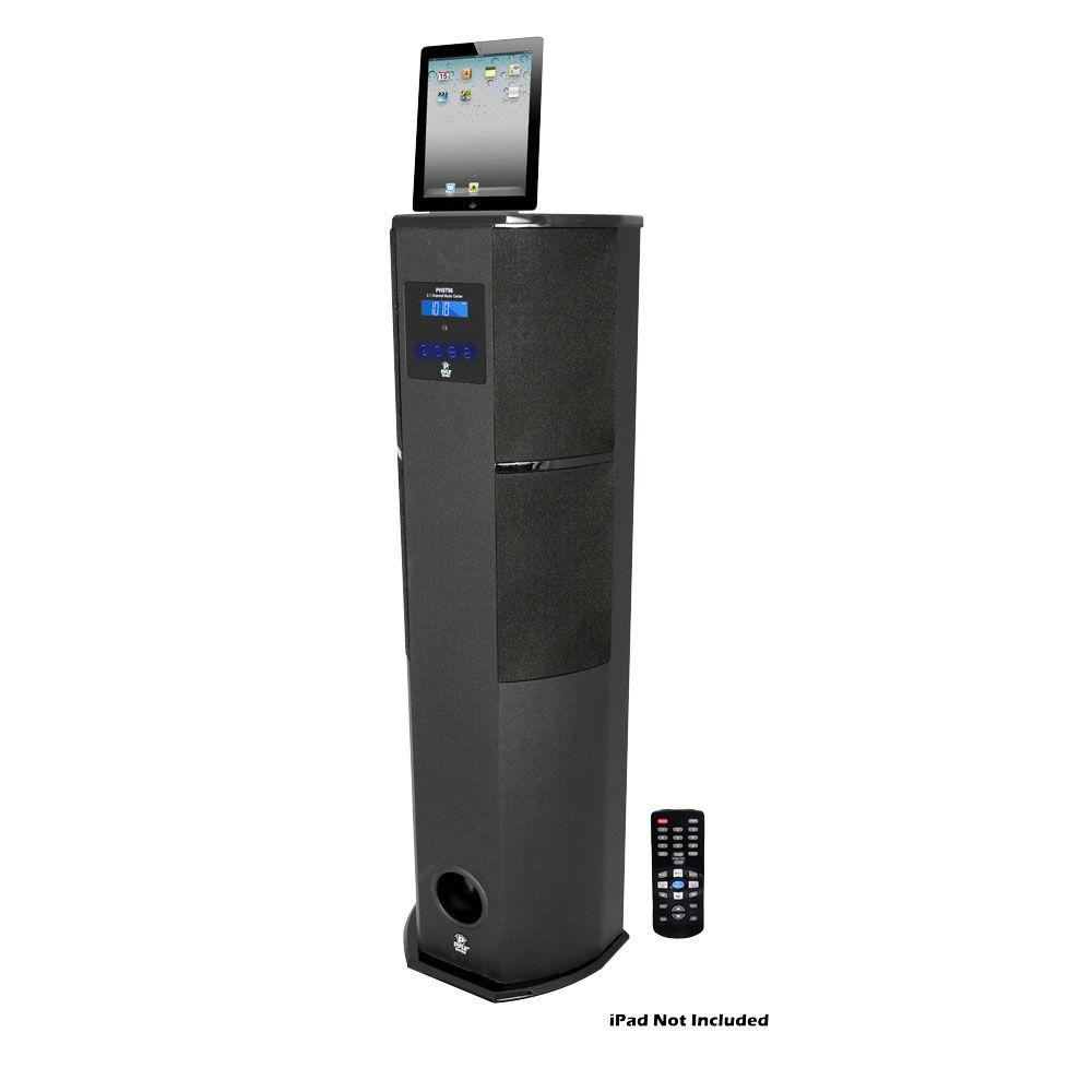 Pyle 600 Watt Digital 2.1 Channel Home Theater Tower with Docking Station for iPod/iPhone/iPad - Black Color-DISCONTINUED