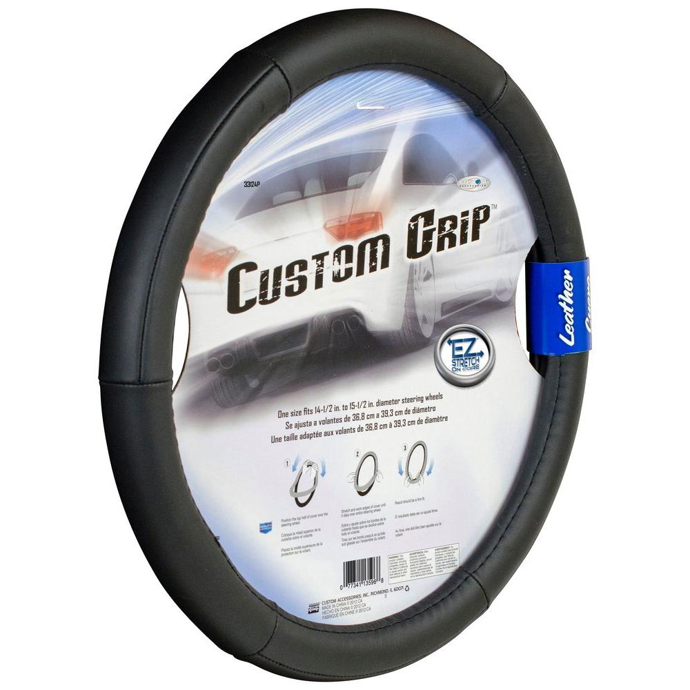 Premium Leather Steering Wheel Cover in Black-33124P - The Home Depot