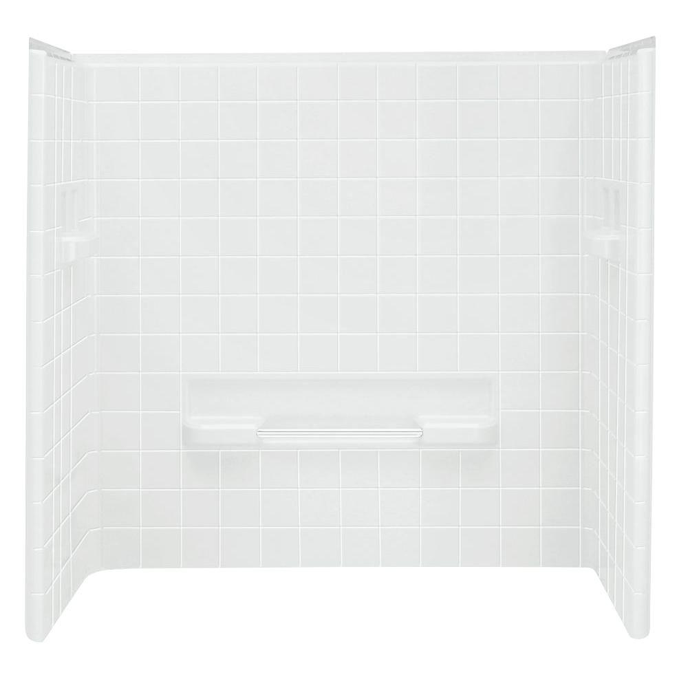 STERLING All Pro 30 in. x 60 in. x 60 in. 3-piece Direct-to-Stud Tub Wall Set Backer in White