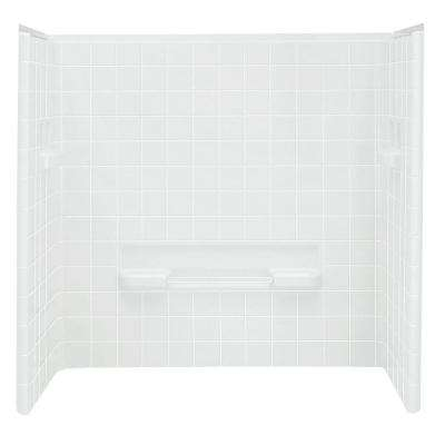 All Pro 30 in. x 60 in. x 60 in. 3-piece Direct-to-Stud Tub Wall Set Backer in White