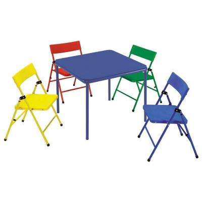 24 in. x 24 in. Kid's Folding Chair and Table Set in Multiple Colors (5-Piece)