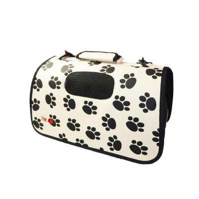 Airline Approved Zippered Folding Cage Carrier in Paw Print Design - Large