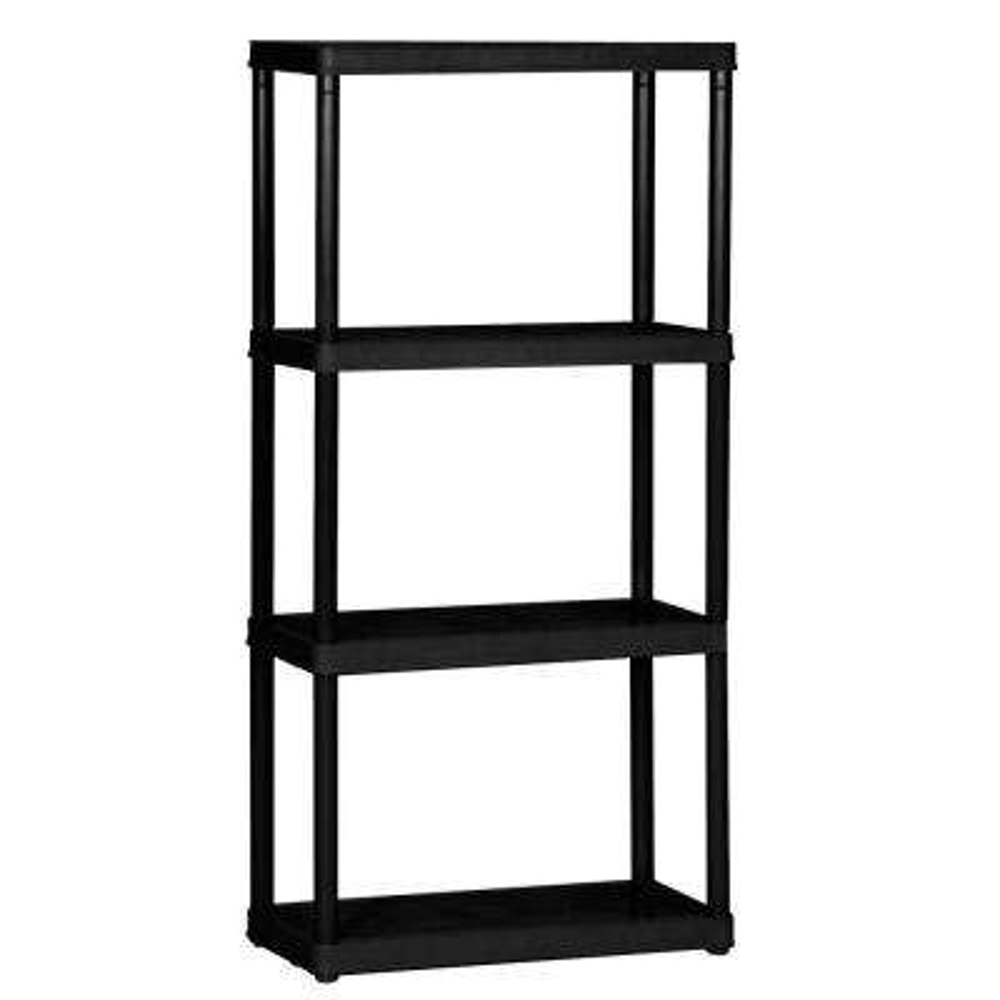 Black 4-Tier Plastic Garage Storage Shelving Unit (24 in. W x 48 in. H x 14 in. D)