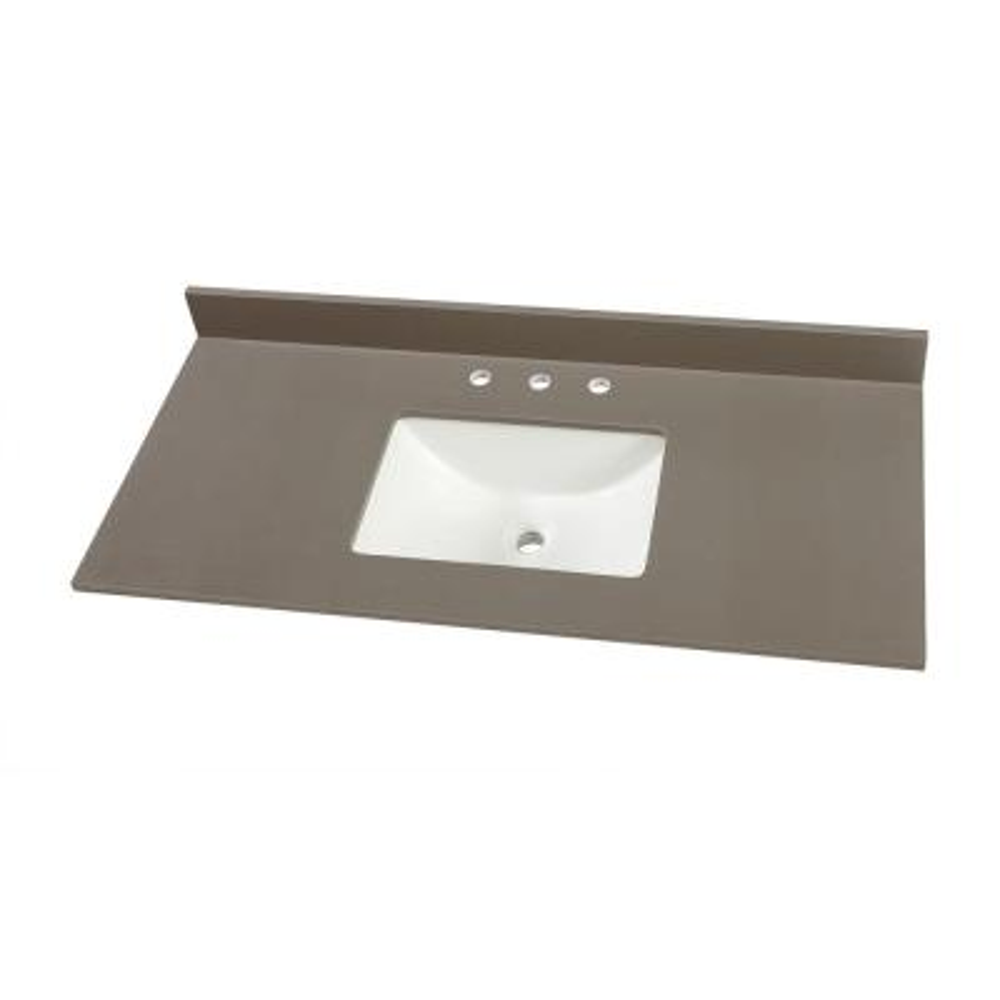 49 in. W x 22 in. D Engineered Marble Single Trough Sink Vanity Top in Slate Grey with White Sink