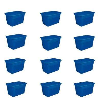 30 Gal. Plastic Stackable Storage Tote Container Box, Blue (12 Pack)