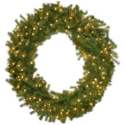 48 in. Norwood Fir Artificial Wreath with 200 Clear Lights