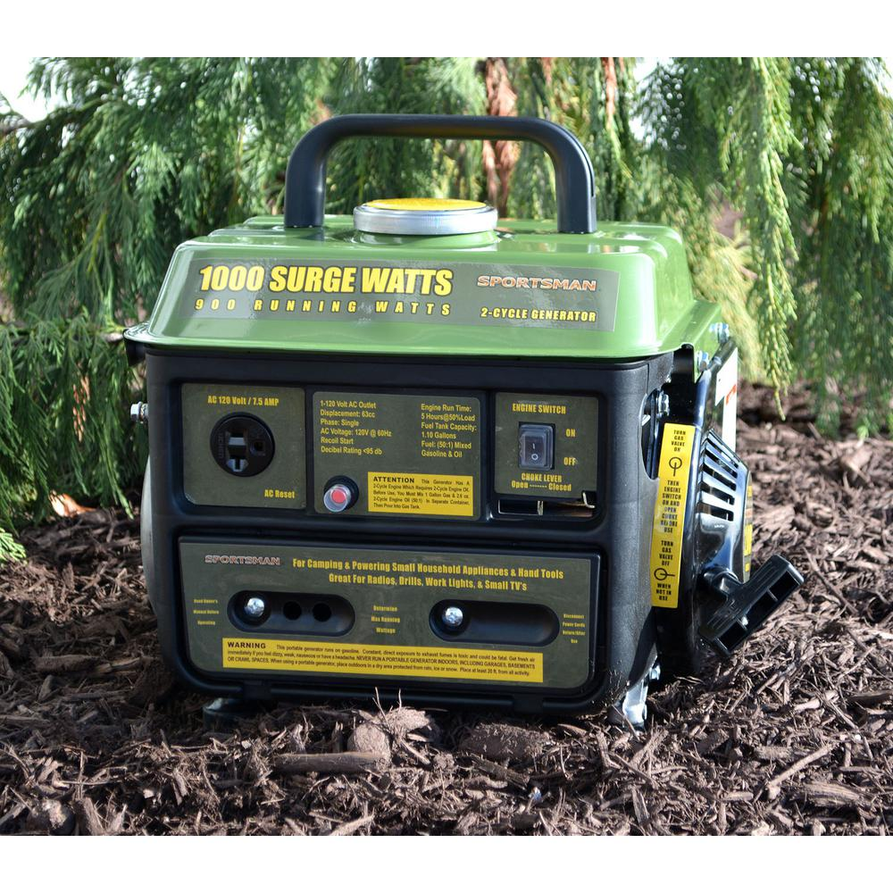 Sportsman 1,000/900-Watt Gasoline Powered Portable Generator with 2-Stroke Brushless Motor